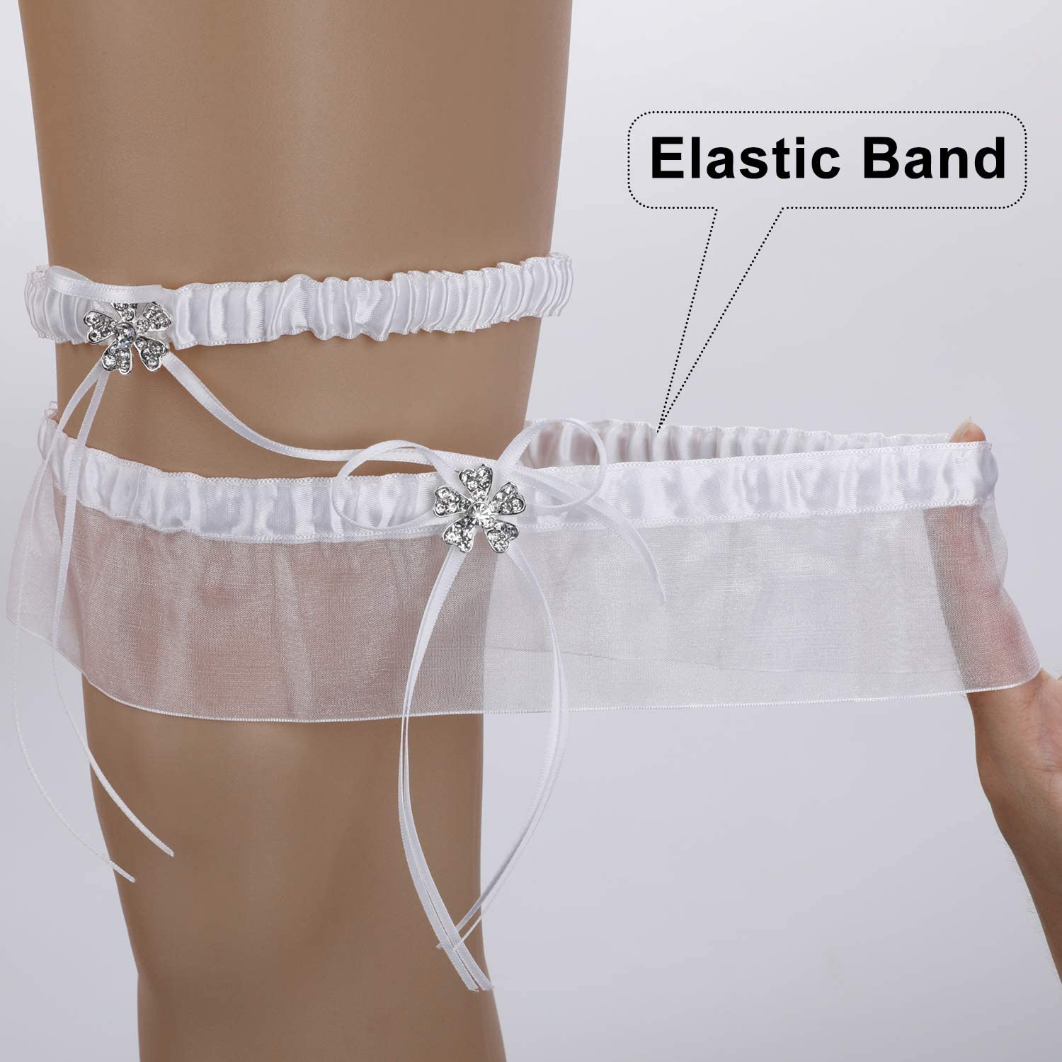 Wedding Dresses Accessories Elasticated Bridal Wedding Garter Wedding Favour Hen Party Night One Size MWOOT White Lace Bride Garter for Bride to Be Bride to be Wedding Day Gift