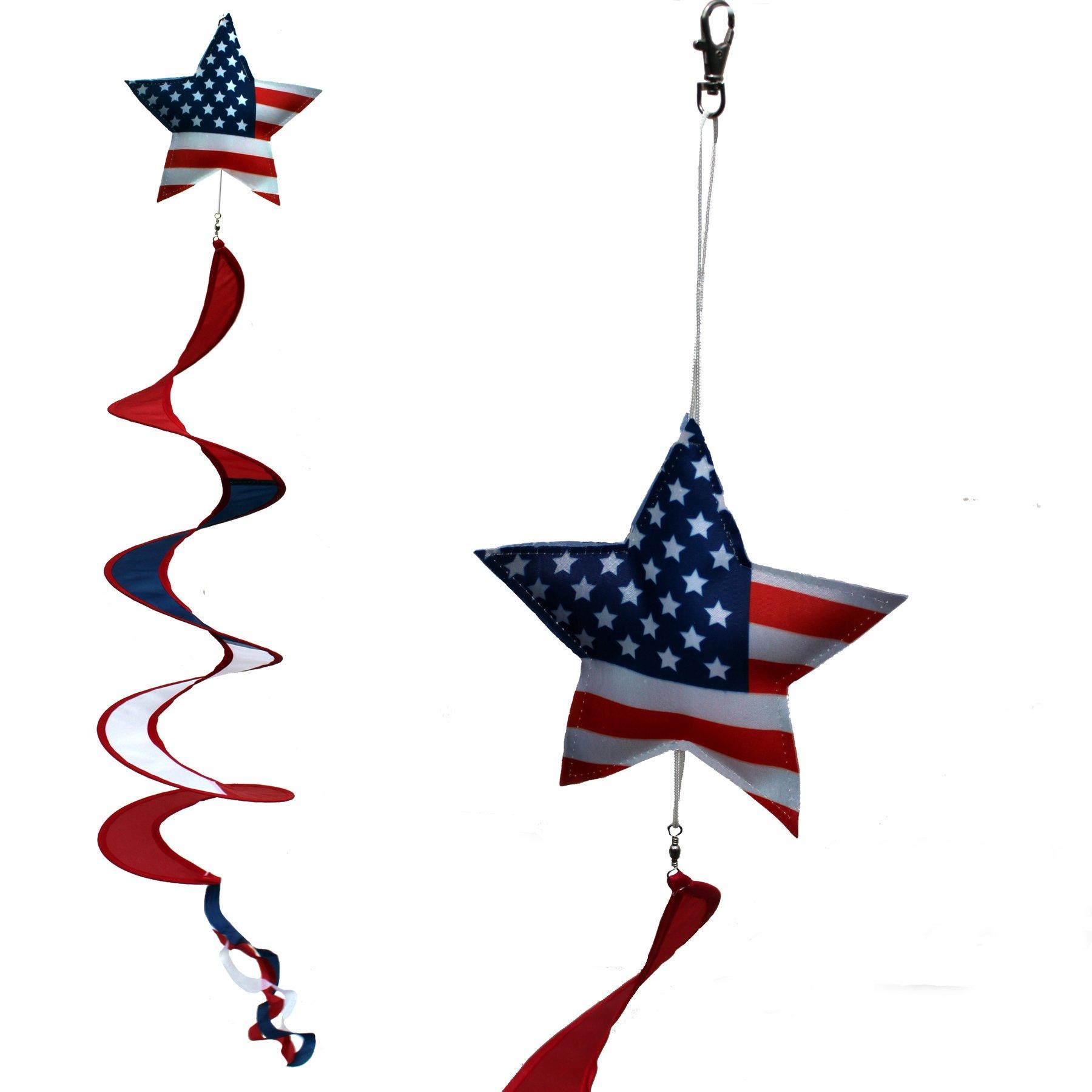 U.S.A. Patriotic Wind Spinner Decoration - American Flag Star, Porch Wind Twirler, Garden Decoration 6'' x 40'' Long