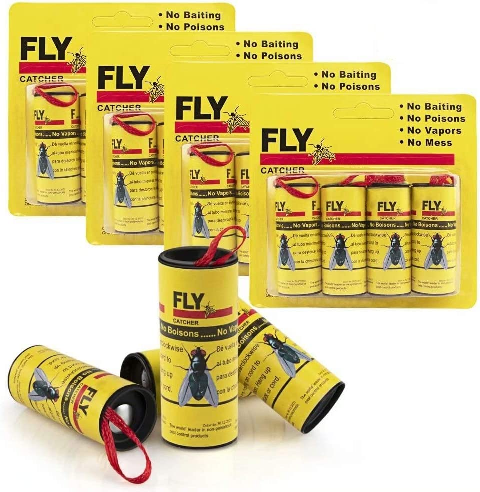 Kenneth Wagner Sticky Fly Trap 16 Pack, Fly Ribbons, Fly Paper Strips, Fly Paper Strips, Indoor/Outdoor Fly Catcher Trap, Fly Bait [Yellow]