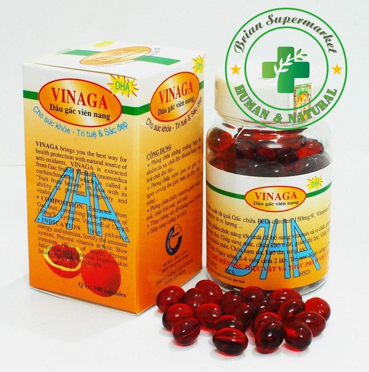 Brian Supermarket - Vinaga DHA Pure GAC Oil - Momordica GAC Fruit Vitamin A Vitamin E - Anti-Aging. 600 Capsules