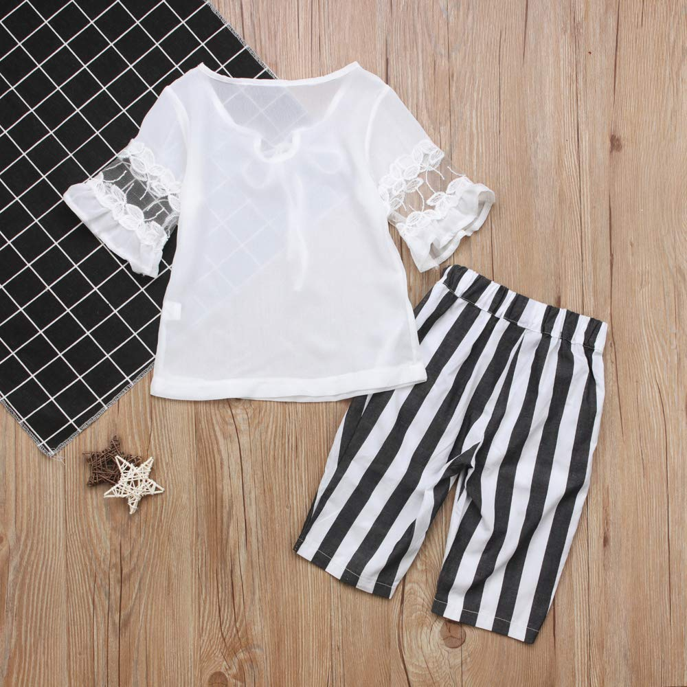 for Baby Toddler Girl Short Sleeve White Shirt and Striped Loose Pants Clothing Set