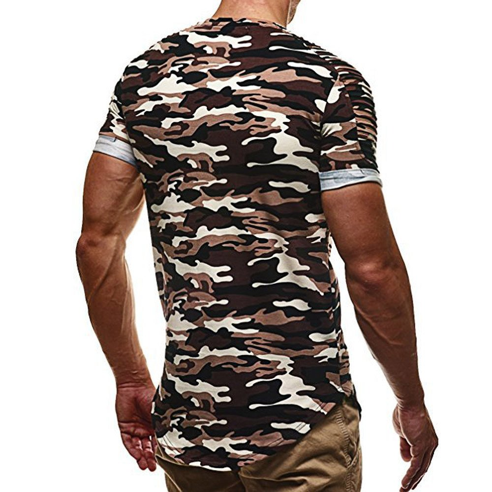 Colmkley Camouflage Shirt for Men Casual Slim Muscle Sport Fitness Tops T-Shirt