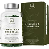Cápsulas de Espirulina y Chlorella [1800 mg/Dosis Diaria] 200 Comprimidos - Fuente de Vitaminas, Proteínas, Hierro…