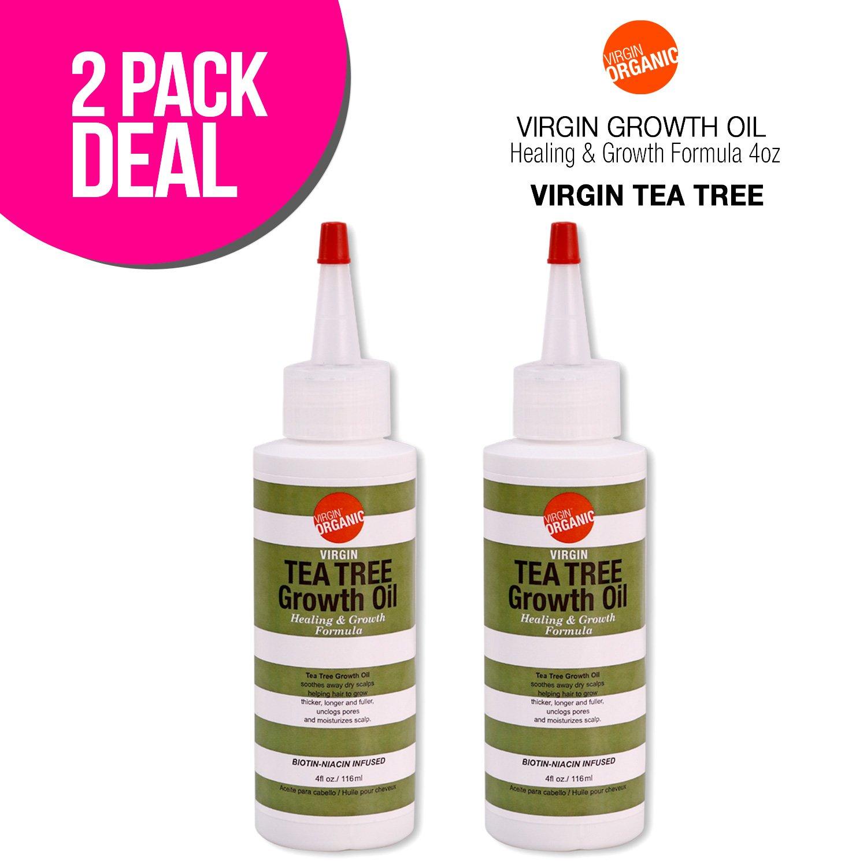 (2 PACKS) Virgin Organic Tea Tree Growth Oil Healing & Hair Growth Formula 4oz