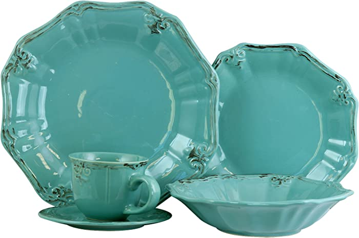 Elama Scalloped Round Stoneware Elegant Dinnerware Dish Set, 20 Piece, Turquoise
