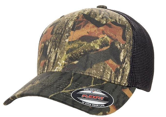 209f38e2dbca51 2040USA Flexfit Mossy Oak Stretch Trucker Mesh Camouflage Cap  (Breakup/Black) at Amazon Men's Clothing store: