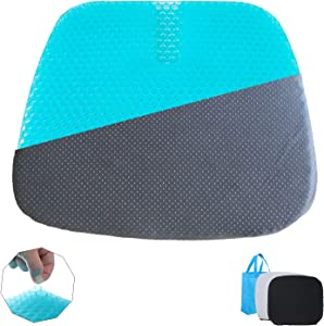 Extra-large Gel Seat Cushion, Home/Office Chair /Wheelchair/Car Seat Cushion, Double- layer Honeycomb Design Gel Cushion, High Breathability & Ultra-soft, Relieve Sciatica, (2 Non-slip Covers)