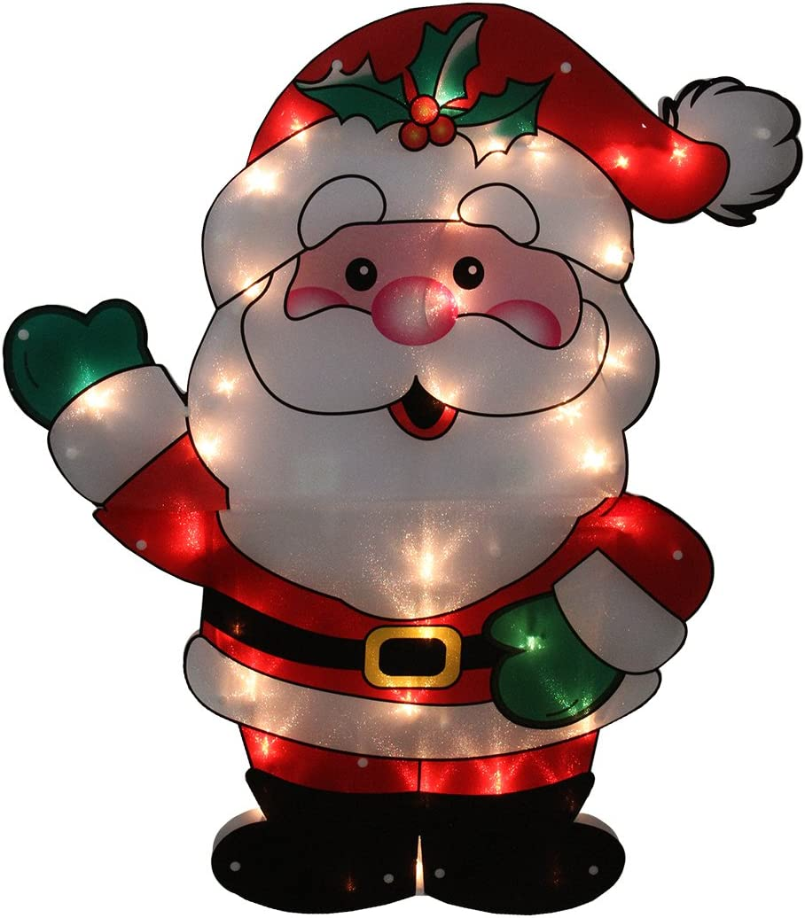 """Sienna Lighted Shimmering Santa Claus Outdoor Christmas Yard Art Decoration with Clear Lights, 29"""""""