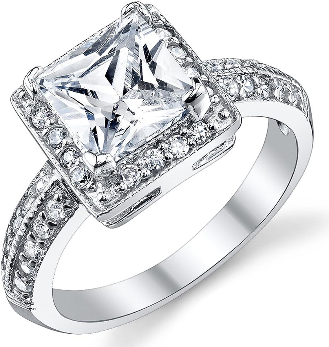 2 Carat Princess Cut Cubic Zirconia Sterling Silver 925 Wedding