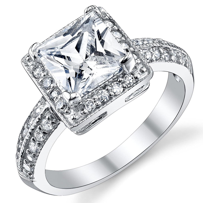 Damen Sterling Silber 925 Verlobungsring Ehering Mit 2 Karat