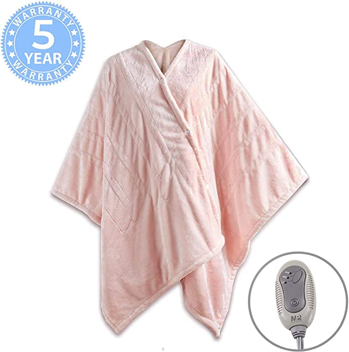 "MP2 Fleece Heated Blanket Wrap Shawl, Wearable Electric Poncho Throw with Buttons, 3 Heating Settings & 2 Hours Auto Shut Off, 50""x 64"" Pink Blush"