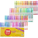 160 Pack Glitter Gel Pens Set, Shuttle Art 220% Ink Glitter Gel Pen 80 Colored Gel Pens Plus 80 Refills for Adult Coloring Bo