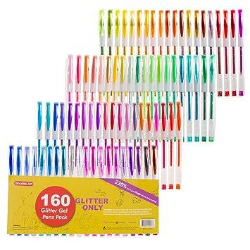 Shuttle arte 160 colores juego de bolígrafos de gel con brillantina, 220% de tinta