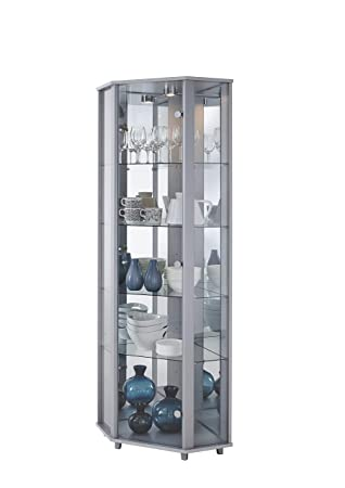 home corner glass display cabinet silver with mirror back 4 rh amazon co uk  stahldas silver glass display cabinet