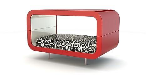 Suite roja – Caseta de diseño para perros y gatos con cojín, sofá para animales