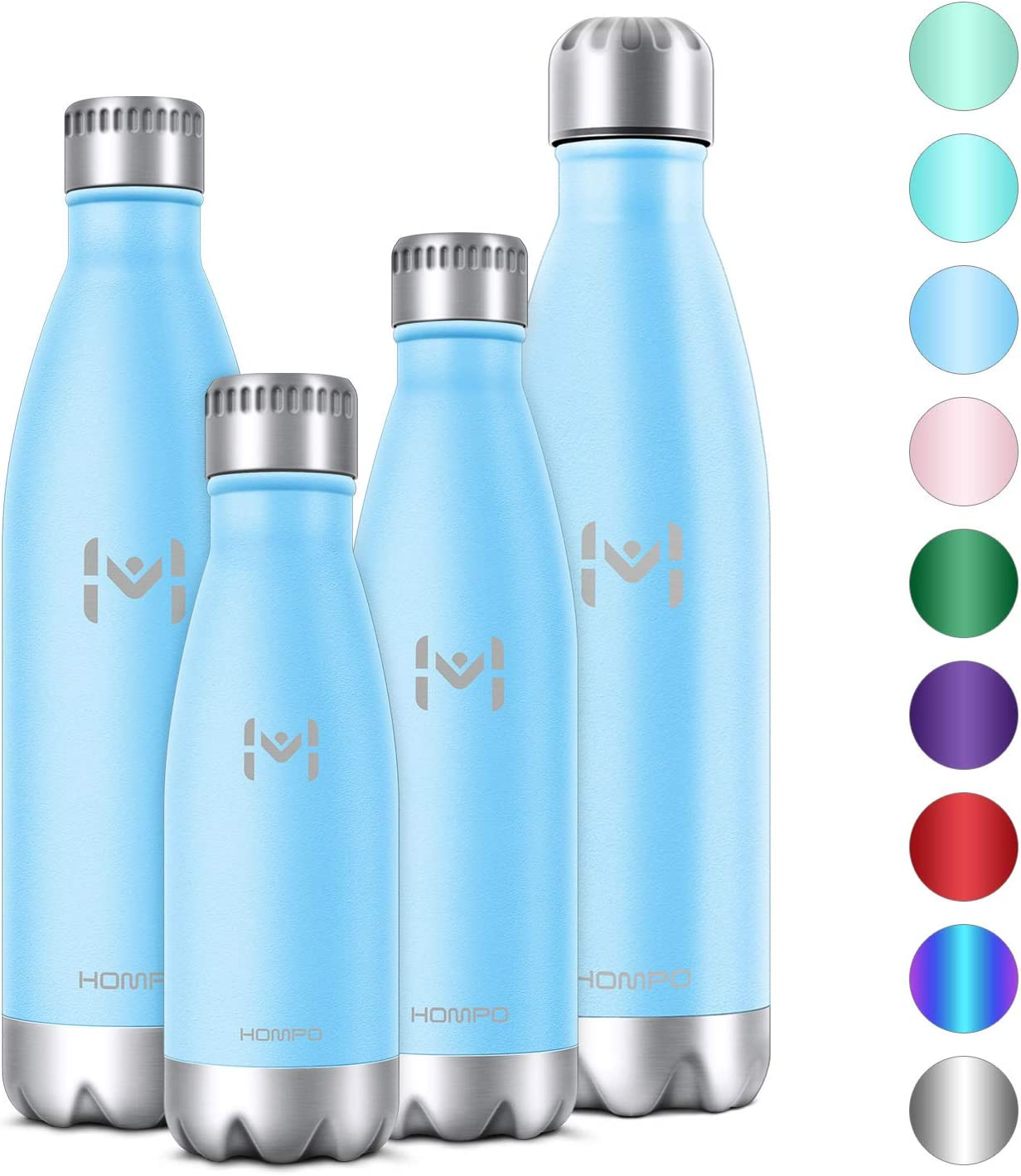 HOMPO Stainless Steel Water Bottle - 12/17/ 26/ 32oz BPA Free Vacuum Insulated Metal Reusable Water Bottle, Double Walled Keeps Hot & Cold Leak Proof Drinks Bottle for Kids, Sports, Gym