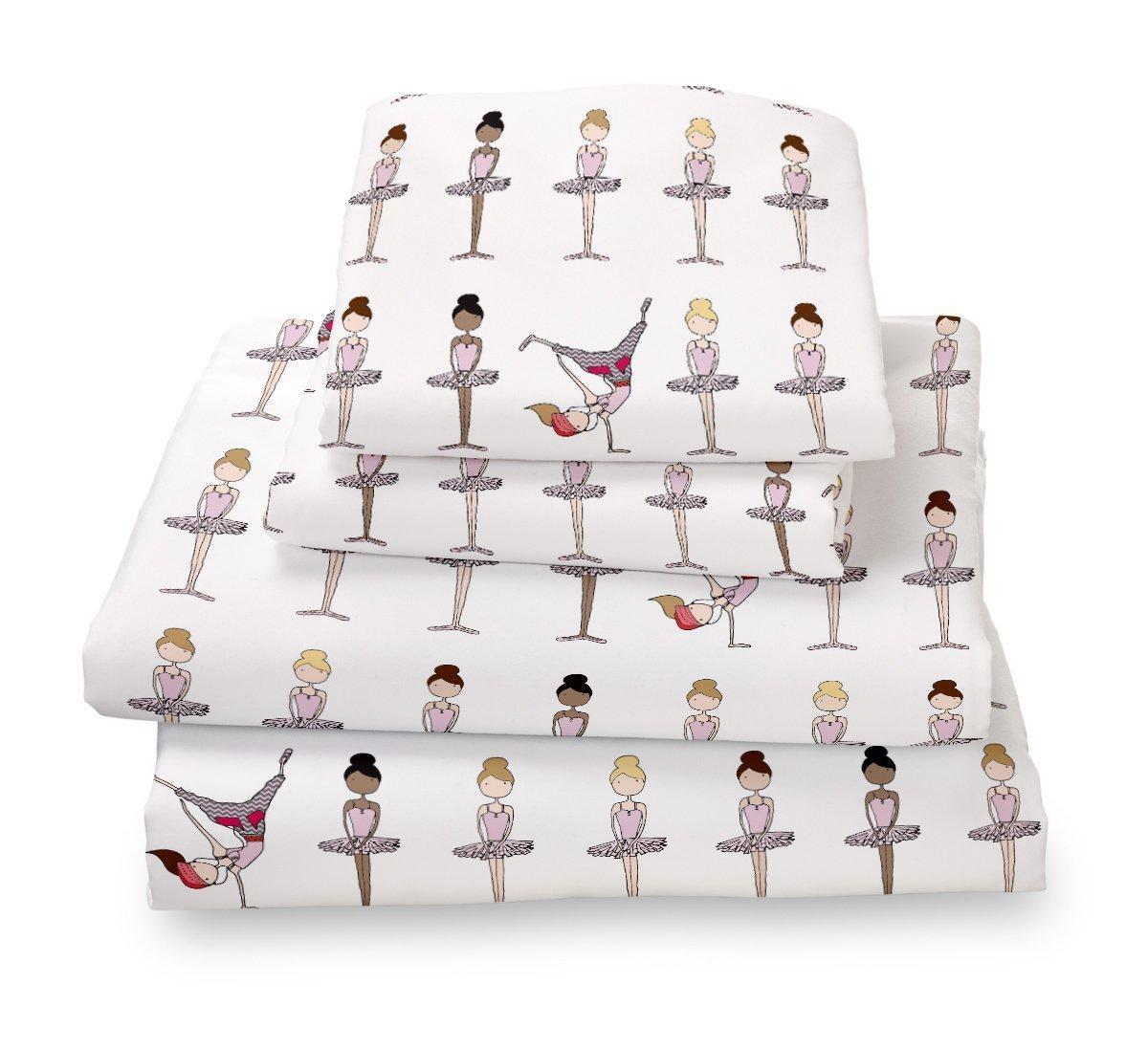 Where The Polka Dots Roam Twin Pink Ballerina Sheet Set for Girls Bedding- Double Brushed Ultra Microfiber Twin Size Set