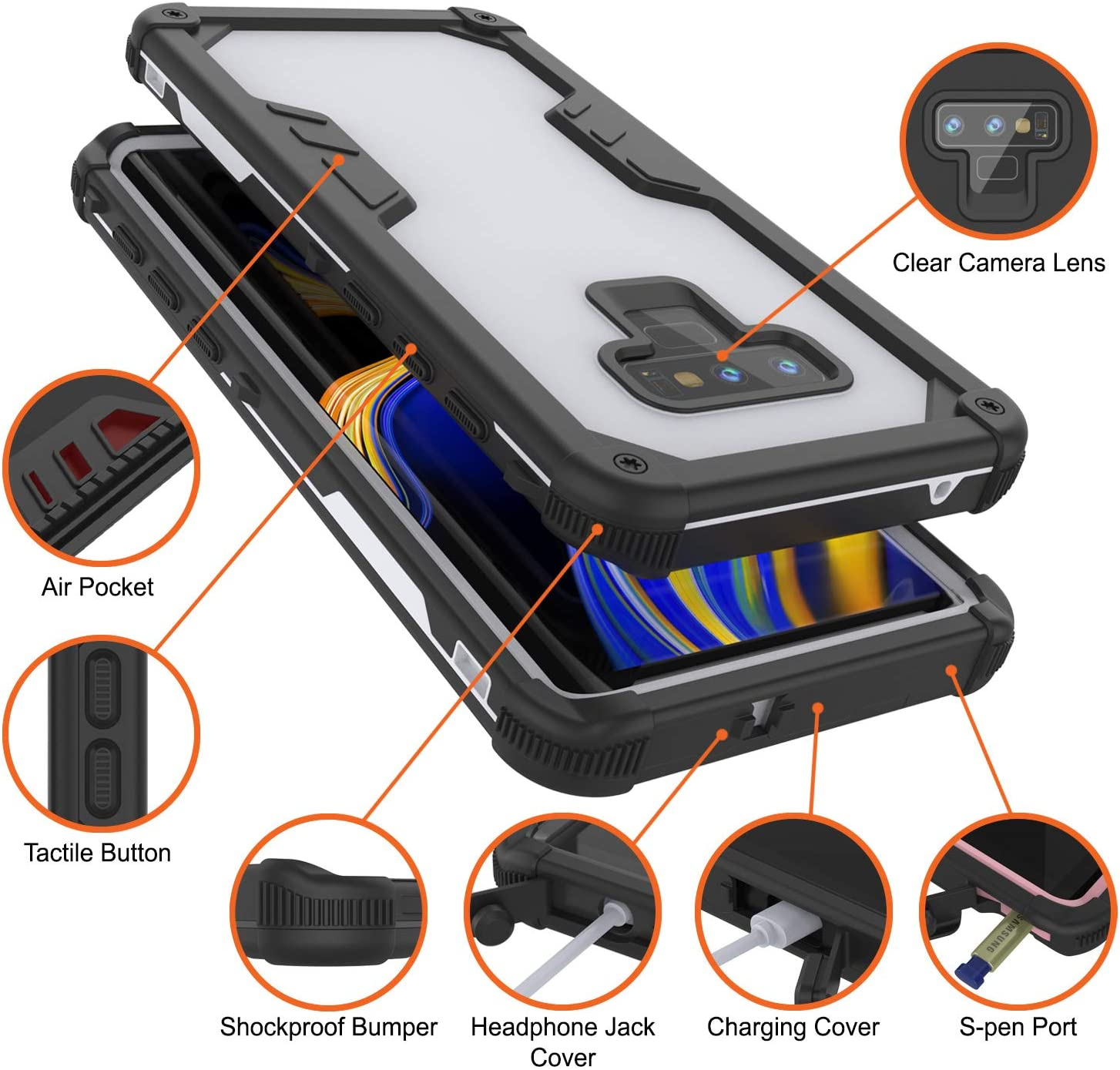 Navy Seal Extreme Series Dirtproof PunkCase Galaxy Note 9 Waterproof Case 360 Full Body Armor Cover Compatible With Samsung Galaxy Note 9 Shockproof Black IP68 Certified Slim Fit
