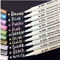 Audel-Metálico Rotuladores,10 unidades de Marker Pen para álbum de fotos DIY/cualquier superficie/tarjetas/Libros de colorear para los adultos/niños garabateando/cómic gráfico