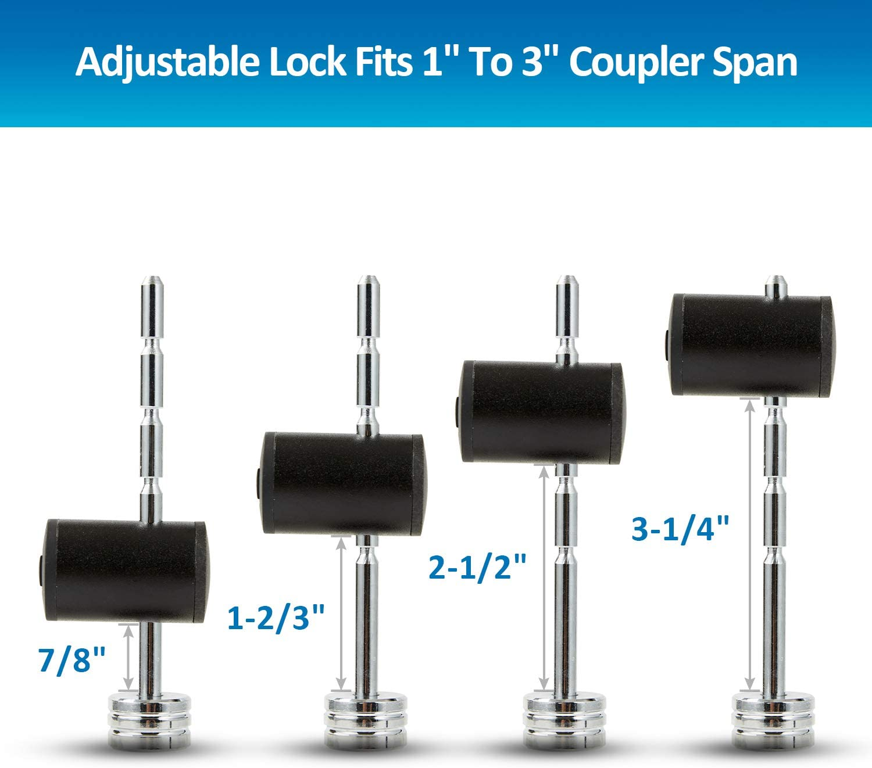 METOWARE Right-Angle Trailer Coupler Lock Adjustable Span Trailer Coupler Lock Fits 1 to 3 Coupler Span 1//4 Diameter