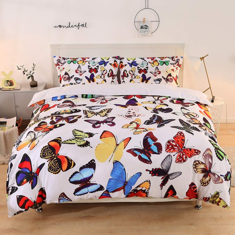 Imiee Multi Butterfly Print Bedding Sets 3 Pieces Twin Size for Kids, Tencel Cotton Butterfly Comforter Cover Sheet Sets with Pillowcases(Twin)