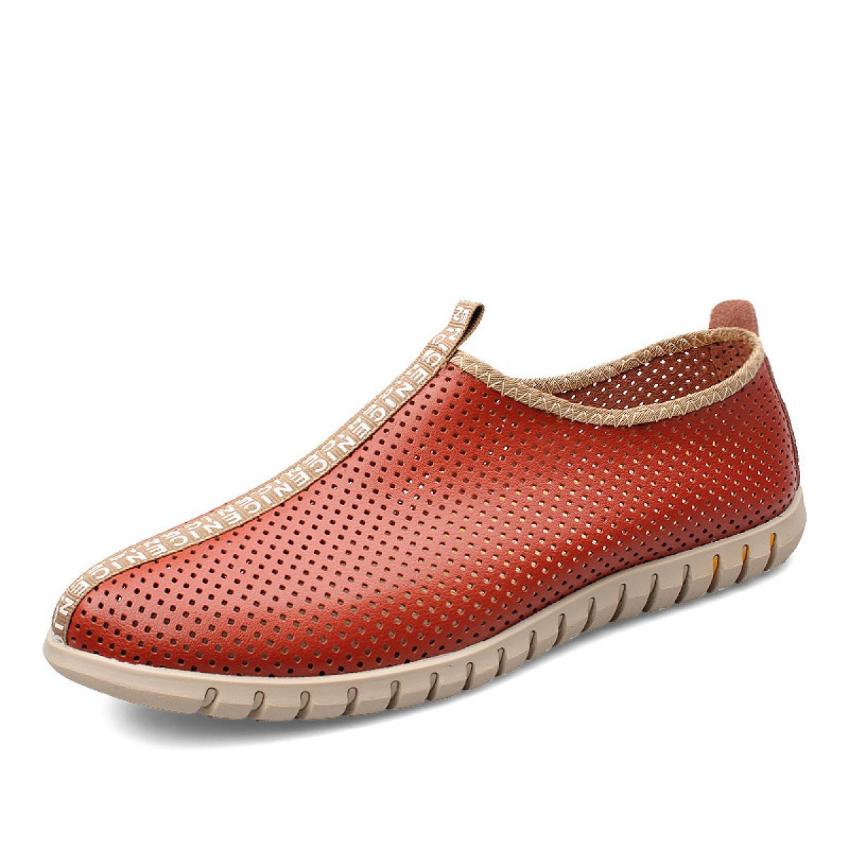 LXXAMens Verano Cuero Casual Zapatos De Trekking Peso Ligero De Malla Transpirable Calzado Deportivo,Orange-39EU 39EU Orange