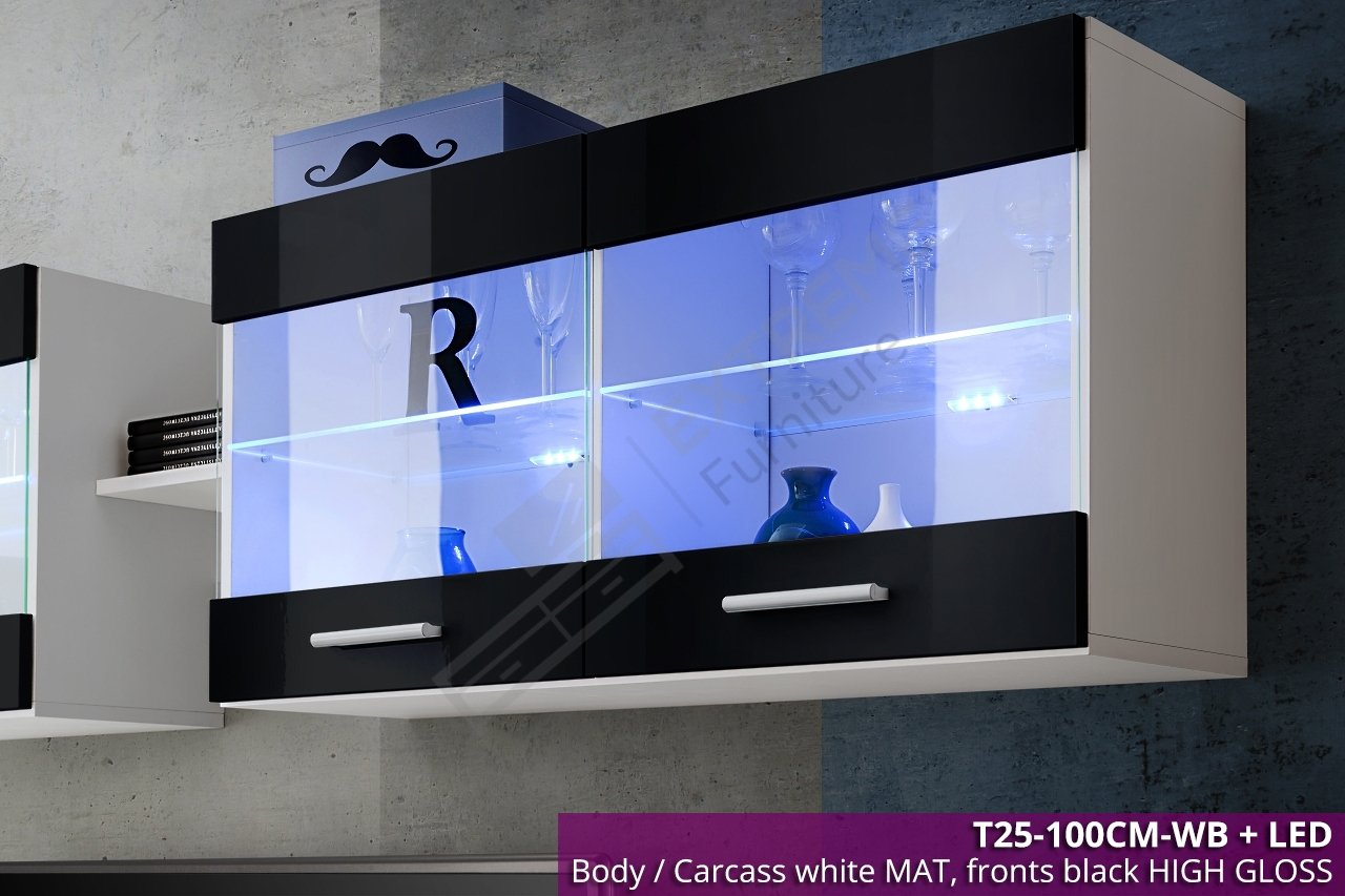 Vetrinetta pensile moderna, lucida, con luce a LED T25, lunghezza 100cm lunghezza 100cm Extreme Furniture