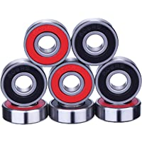 8 Pieces Bearings Skateboard Bearings Longboard Roller Skate Bearings 608 2RS, Double Shielded, Red and Black