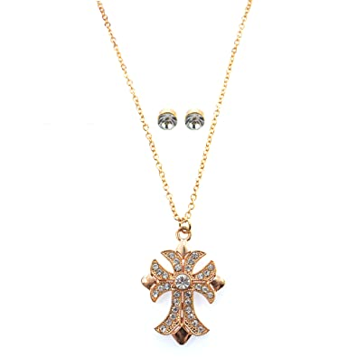 Amazon Com Holiday Lane Macy S Gold Tone Crystal Cross Pendant