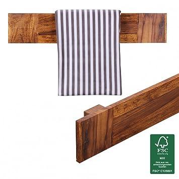 finebuy towel rack solid wood sheesham 80 cm wall shelf country style bathroom accessories bathroom furniture