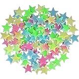 AIFHI 夜光ステッカー 蓄光 星空ウォールステッカー シール かわいい星 壁紙 約100枚入 カラフル