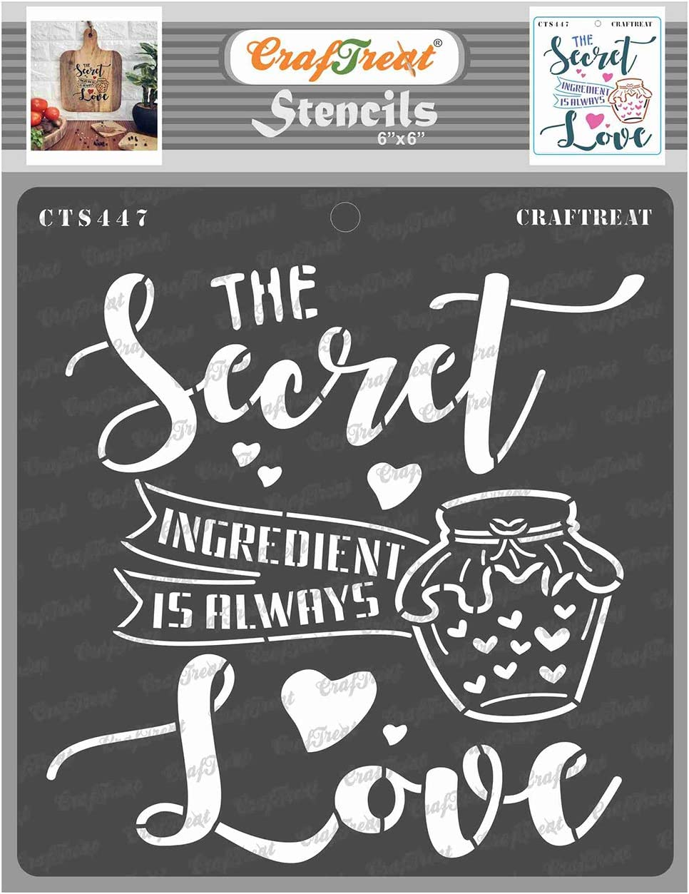 CrafTreat Quote Stencils for Painting on Wood, Canvas, Paper, Fabric, Floor, Wall and Tile - Secret Ingredient - 6x6 Inches - Reusable DIY Art and Craft Stencils - Kitchen Decor Stencils for Painting