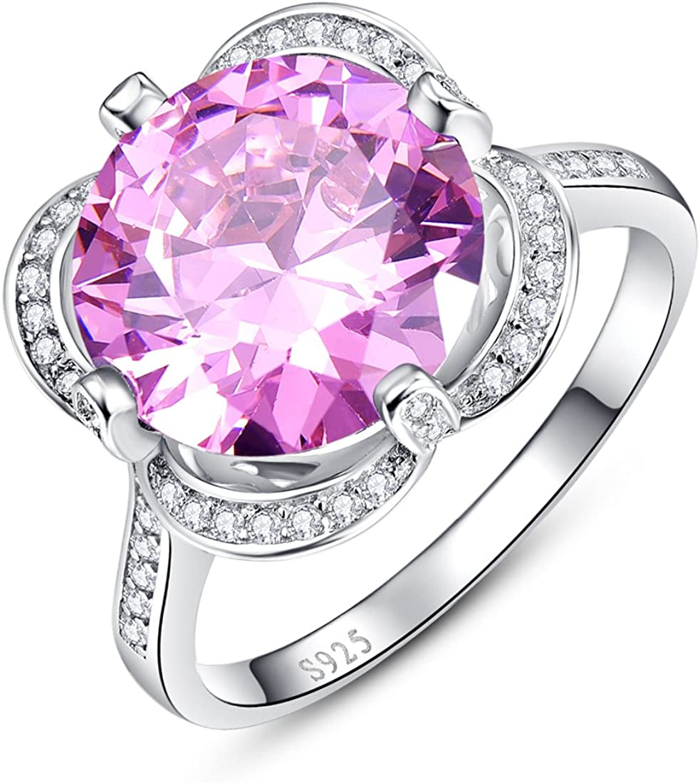 Auzeuner 925 Sterling Silver Round 10x10mm Lab-Created Pink Topaz Promise Flower Wedding Ring for Women