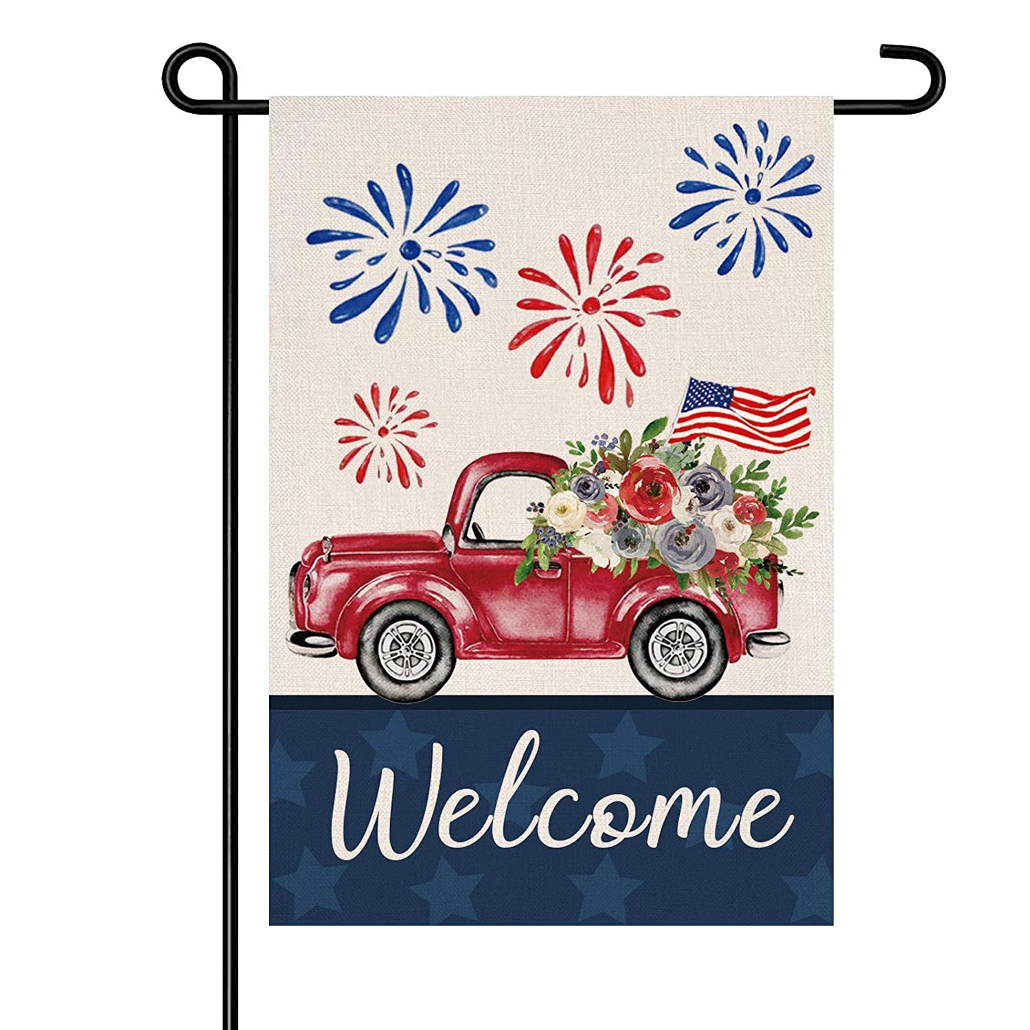 4th of July Garden Flag,Memorial Day Welcome Patriotic Garden Flag,12x18 Inch Double Sided Waterproof Patriotic Flag for Yard Outdoor Decoration