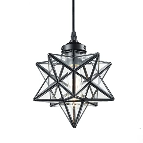 YOBO Lighting Clear Glass Moravian Star Pendant Lights Chandelier, 8 Inch