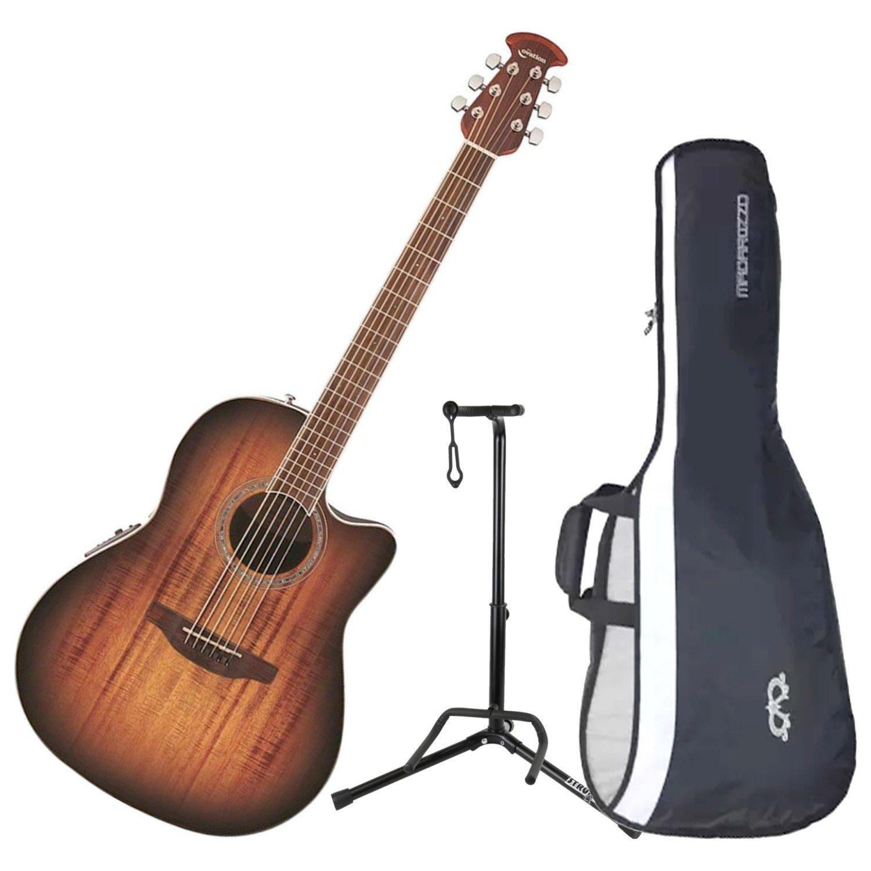Ovation CS28P-KOAB Celebrity Plus Super Shallow Koa Burst A/E Guitar with Gig Bag and Stand by Ovation