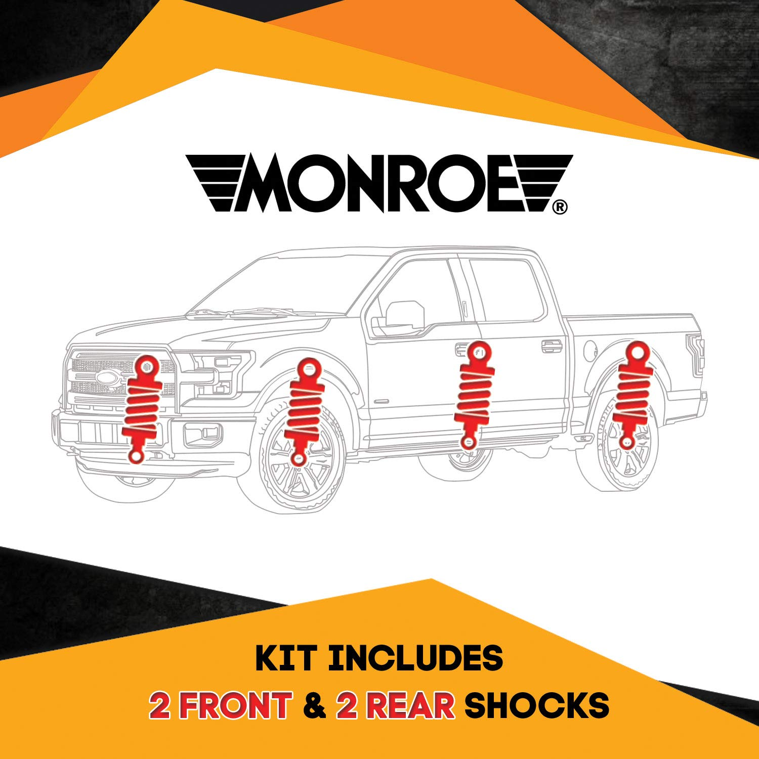 Leveling Performance Touring /& Offroad Monroe Quick Mount Kit of 4 Shocks fits Chevrolet C2500 Suburban 1993-1999 Monro-Matic Plus Front /& Rear for Replacement