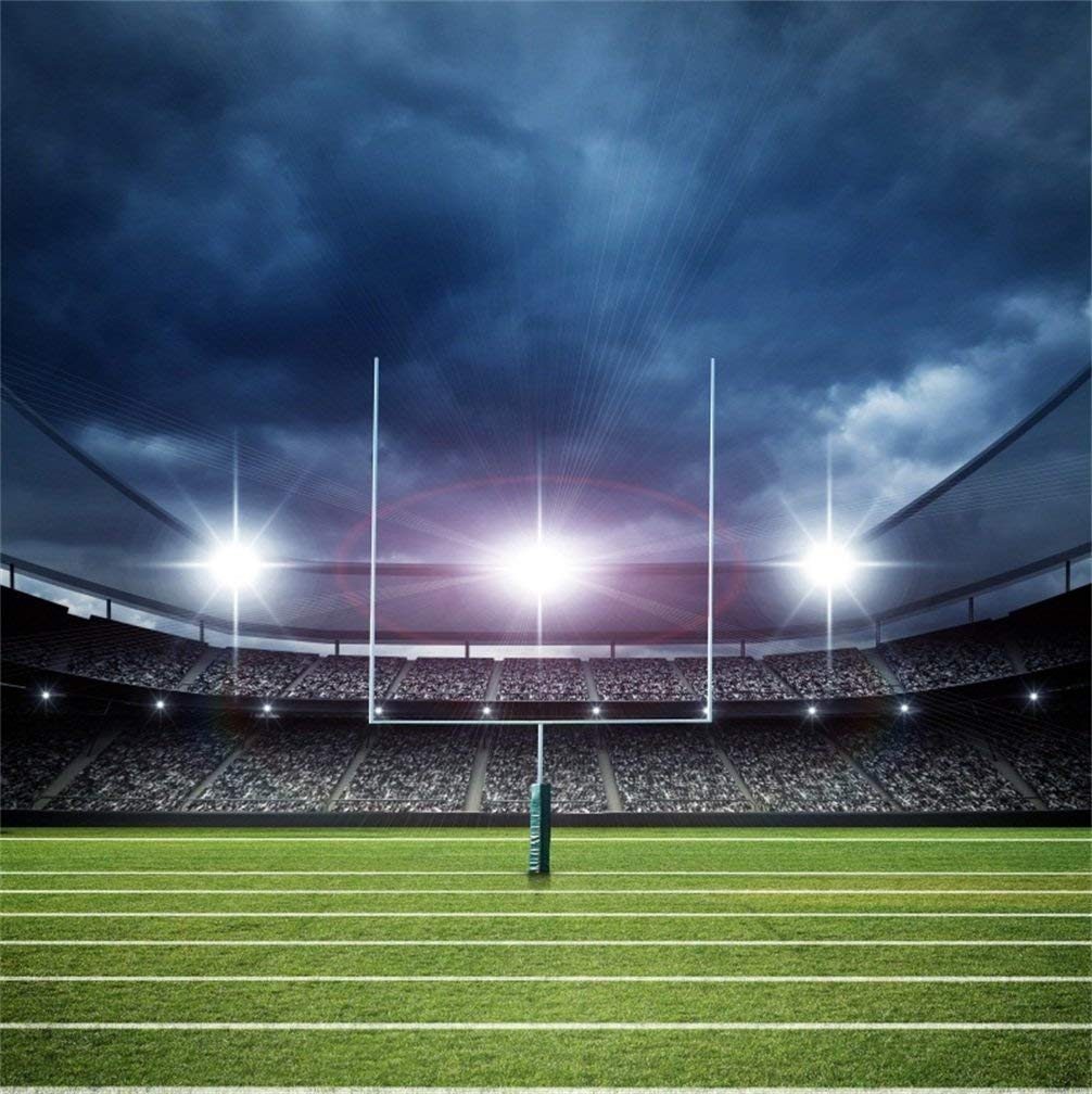 CSFOTO 5x5ft Background Football Stadium Before Match Night Photography Backdrop Rugby Soccer Court Sport Championship Competition Defocused Field Recreation Photo Studio Props Wallpaper