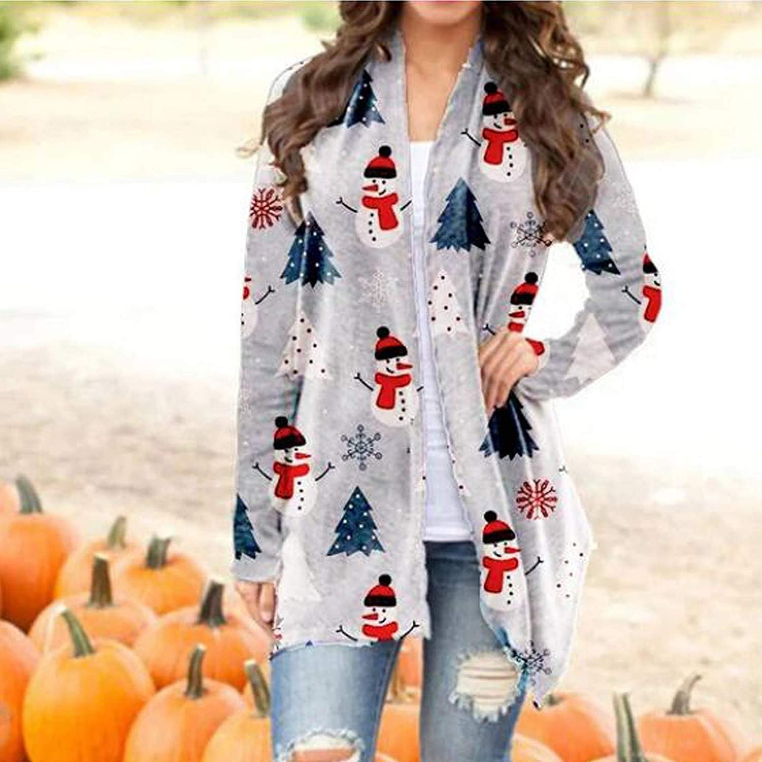 GAOQIANG Womens Loose Casual Christmas Cardigan Snowman Snowflake Print Long Sleeve Open Front Loose Plus Size Outerwear