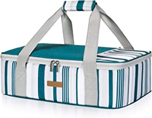 LUNCIA Insulated Casserole Carrier for Hot or Cold Food, Lasagna Lugger Tote for Potluck Parties/Picnic/Cookouts, Fits 9