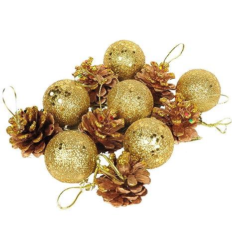 Decorazioni Natalizie Dorate.Decorazioni Natalizie Decorazione Di Natale Ornamenti Pigna Palle Pacchetto Regalo Confezione Da 12 Oro