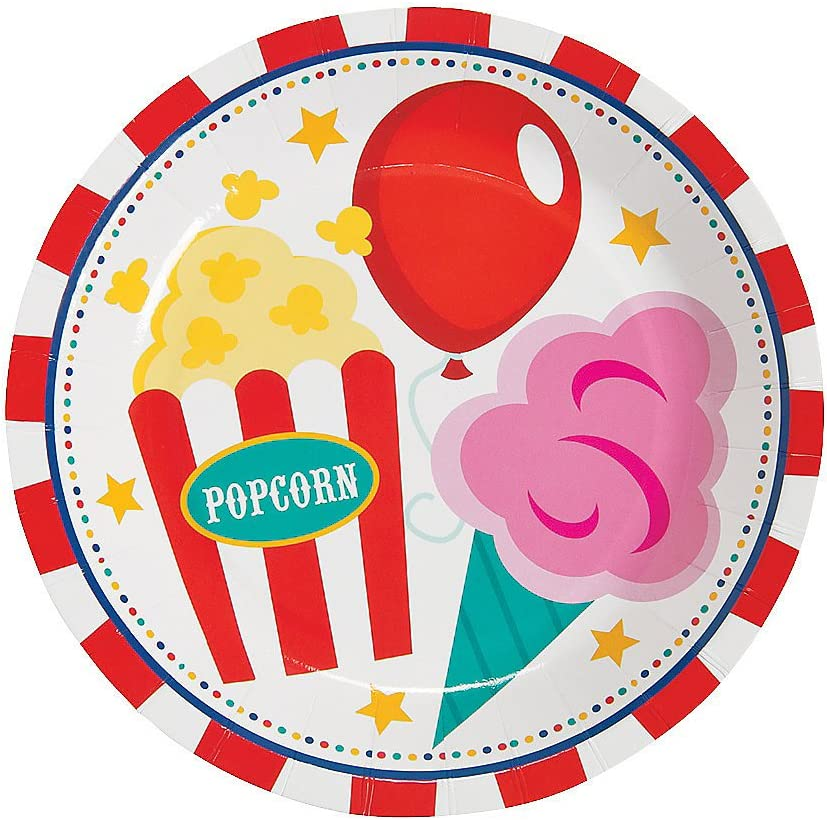 Birthday 8 Pieces Print Plates /& Bowls Carnival Dessert Plates for Birthday Party Supplies Print Tableware Fun Express