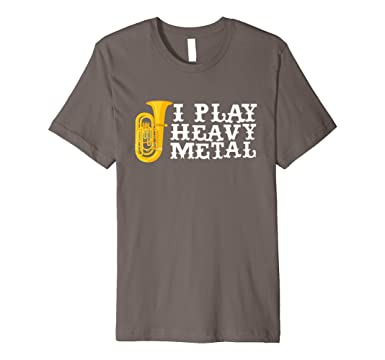 Mens I Play Heavy Metal Tuba Marching Band Geek T-Shirt 2XL Asphalt
