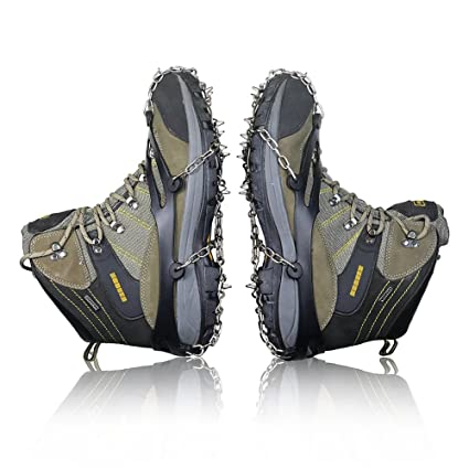 9859ace4f Traction Cleats 10 Teeth Universal Crampon Anti Slip Ice Snow Cleats Shoe  Boot Grips Spikes Grips