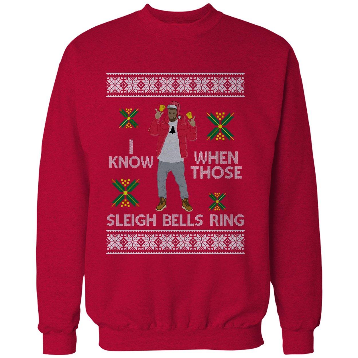 Amazon.com: Adult Ugly Christmas Sweater Sleigh Bells Ring Crewneck ...