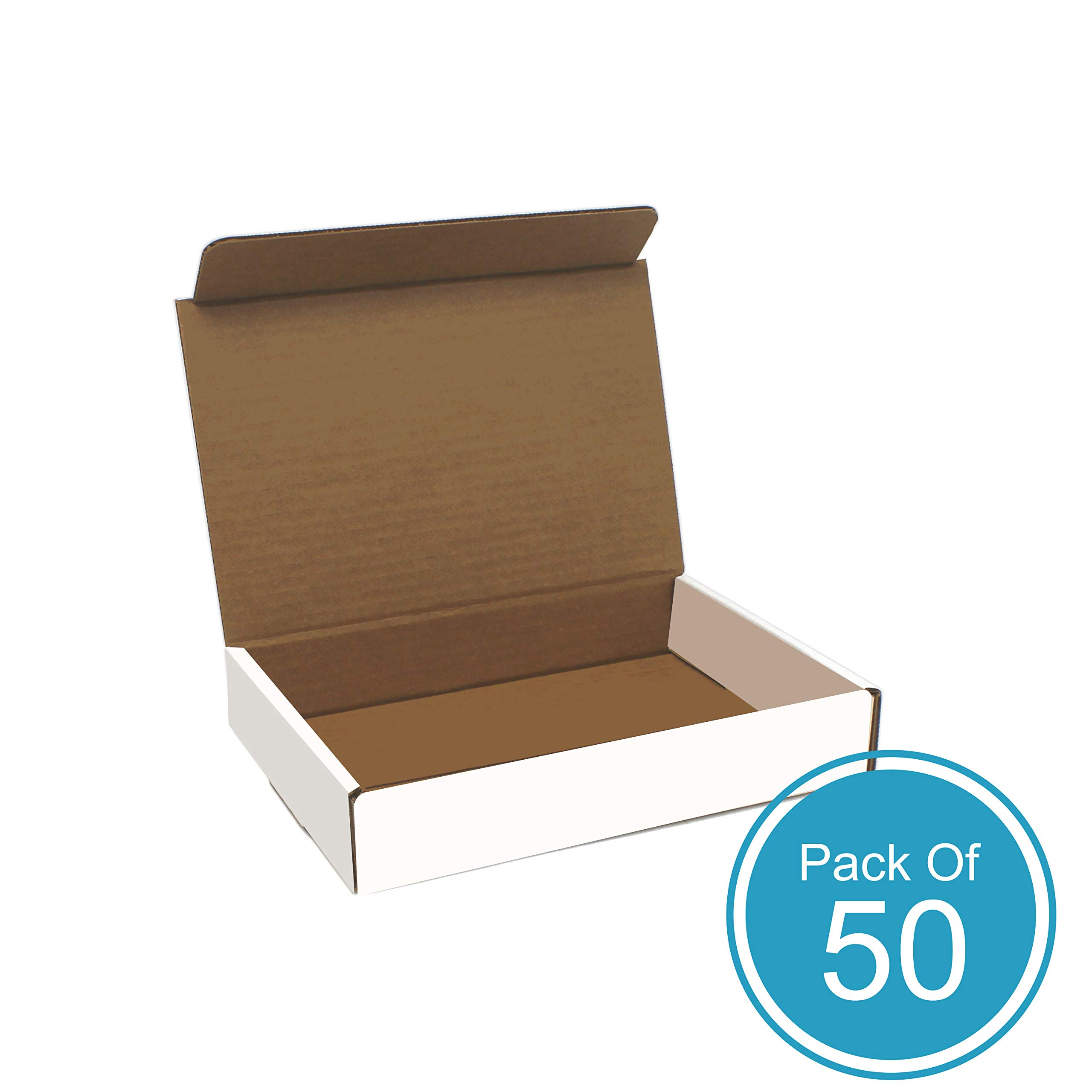 Corrugated Cardboard Shipping Box - Pack of 50, 9 x 6.5 x 1.75 Inches, White by Here to There Packaging (HTTP)