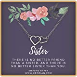 96349088b KEDRIAN Sister Necklace, 925 Sterling Silver Interlocking Hearts Necklace, Big Sister Gifts, Sister