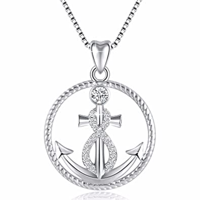 109a154fa352 Image Unavailable. Image not available for. Color  925 Sterling Silver  Anchor and Infinity Nautical Symbol of Hope Vintage Pendant ...