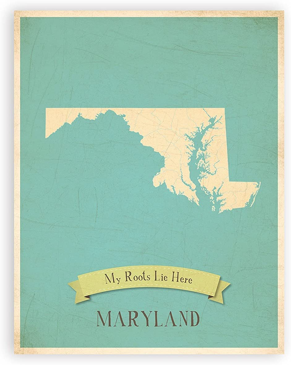 My Roots Maryland Personalized Wall Map 05x07 Inch Print, Kid's Maryland Map Wall Art, Children's Maryland Vintage State Map, MD Wall Art Print, Nursery Decor, Nursery Wall Art