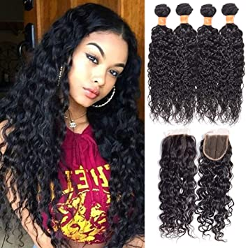 Hair Extensions & Wigs Human Hair Weaves 4 Bundles Malaysian Curly Hair With Lace Closure #27 Honey Blonde Bundles With Closure 100% Human Hair Extensions Double Weft Durable Service